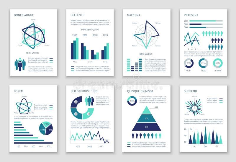 与图、选择图表和人人口统计的象的多用途营销传染媒介infographics 皇族释放例证