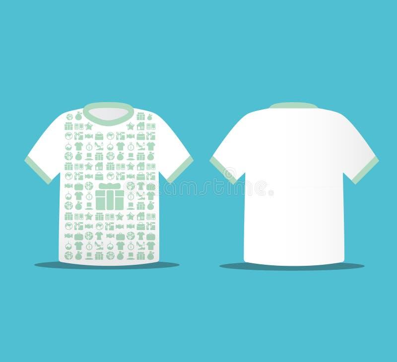 与图标购物的现代虚拟颜色T恤杉设计 向量例证