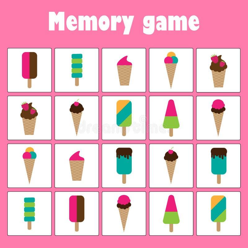与图片的记忆比赛-孩子的冰淇淋题材,xmas乐趣孩子的教育比赛,学龄前活动的任务 皇族释放例证