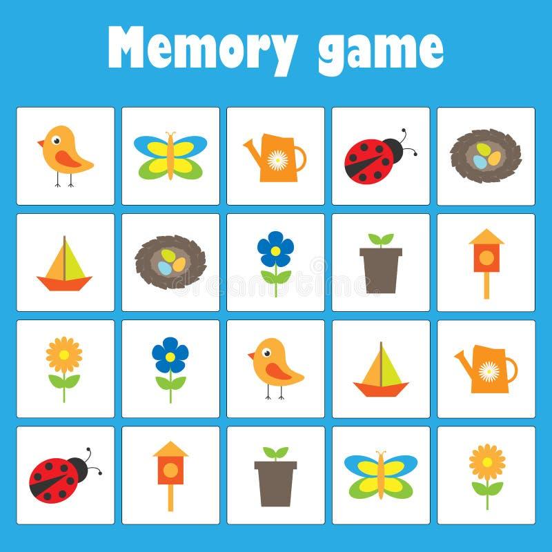与图片的记忆比赛-孩子的春天和庭院题材,xmas乐趣孩子的教育比赛,学龄前活动,任务为 库存例证