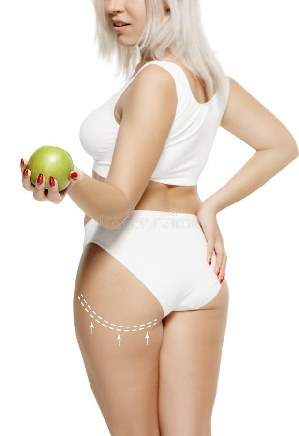 与图画箭头的女性身体 油脂丢失,皮下脂肪切除术和脂肪团撤除概念 免版税库存图片