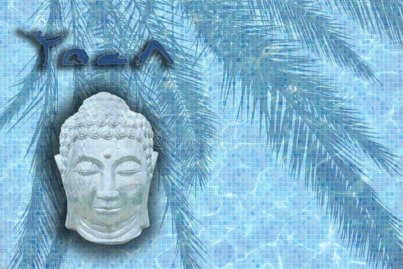 与图的瑜伽词在姿势和睡觉的菩萨头 库存照片