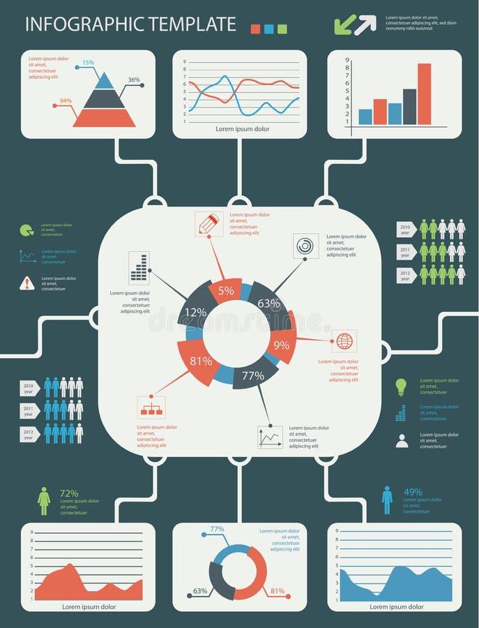 与图表和图的详细的infographic元素集 向量例证