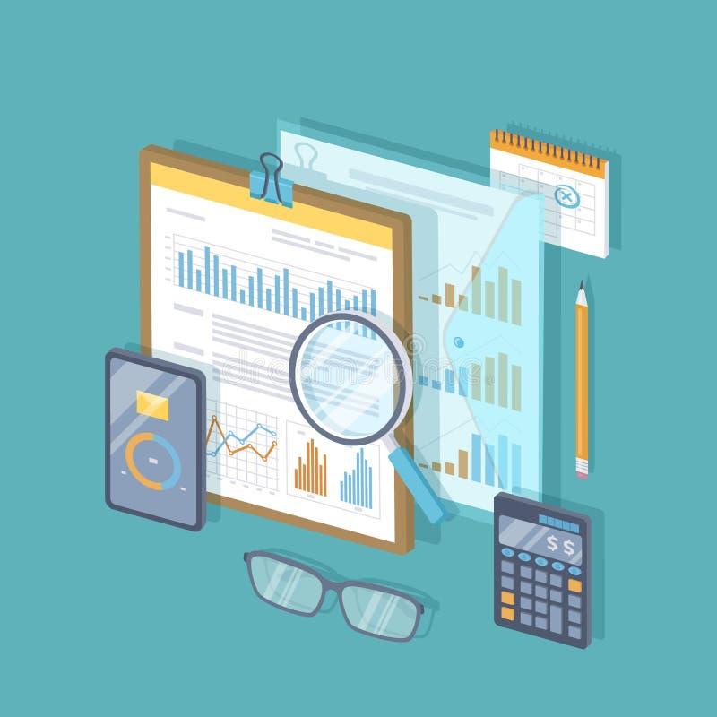 与图表和图的财政文件在剪贴板,计算器,玻璃,放大镜,日历 审计,报告,分析, 向量例证