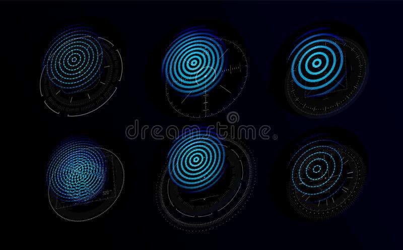 与图表指纹的未来派全息图 为个人鉴定系统设置的蓝色象根据指纹 库存例证