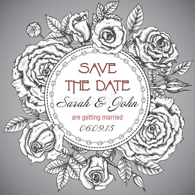 与图表玫瑰的葡萄酒典雅的婚礼邀请 库存例证