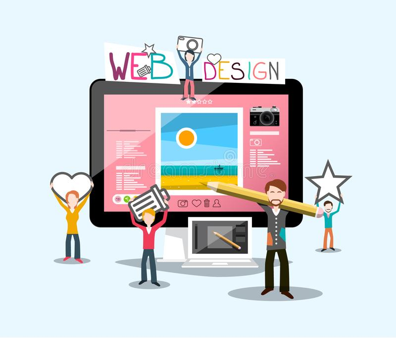 与图表设计师的网络设计概念 皇族释放例证