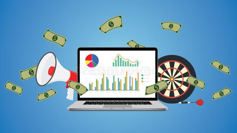 与图表金钱目标和行销的网上企业例证 皇族释放例证