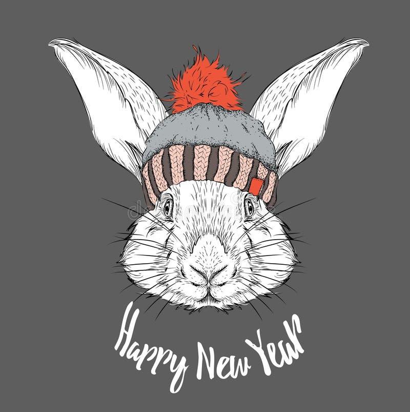 与图象兔子画象的圣诞节海报在冬天帽子 也corel凹道例证向量 皇族释放例证