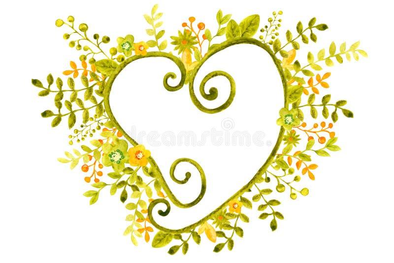 与图象框架的水彩例证从花、枝杈和叶子,绿色和桔子,横幅设计的,海报 向量例证