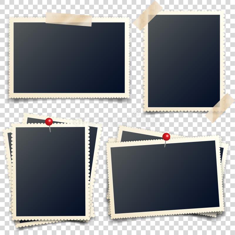 与图钉和磁带,被雕刻的边,框架,影片的老照片卡片 减速火箭,与阴影的葡萄酒照片 数字快照 向量例证