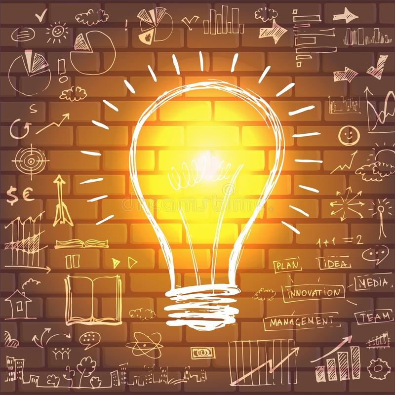 与图画企业成功战略的电灯泡 向量例证