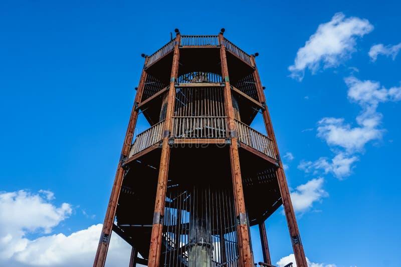 与圆形楼梯的观测塔 免版税库存图片