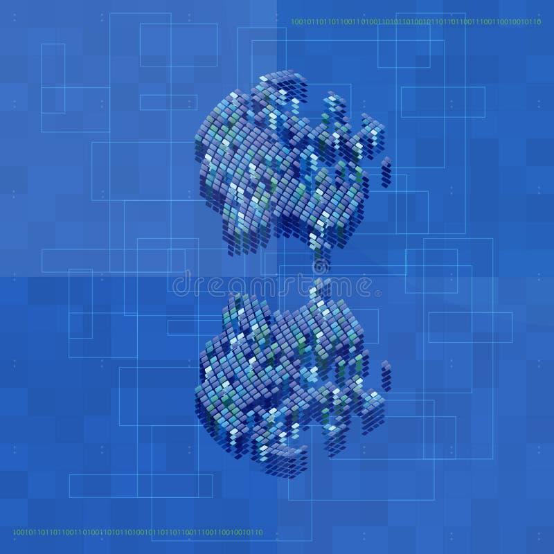 与圆形的蓝色抽象技术背景设计 现代t 向量例证