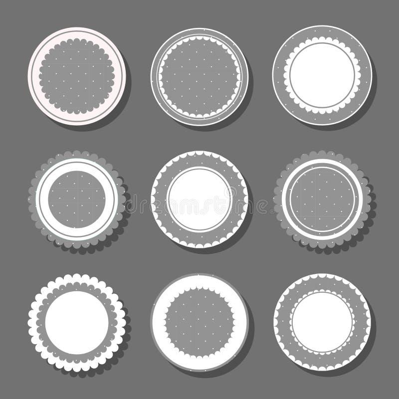 与圆点和褶边的背景 库存例证
