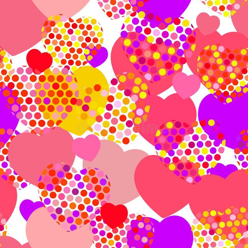 与圆点心脏无缝的样式的桃红色橙色淡紫色红色黄色心脏在白色背景 向量 库存例证