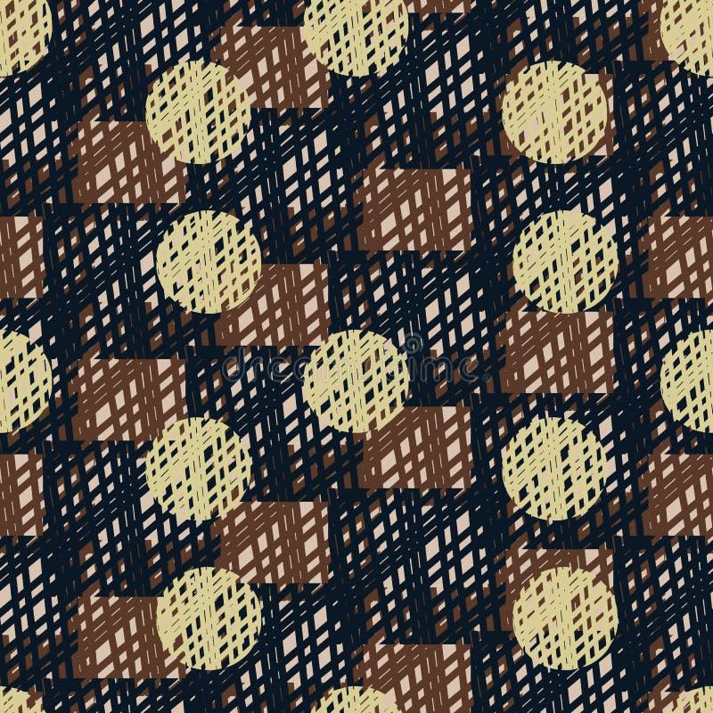 与圆点的无缝的传染媒介样式在方格的背景 库存例证
