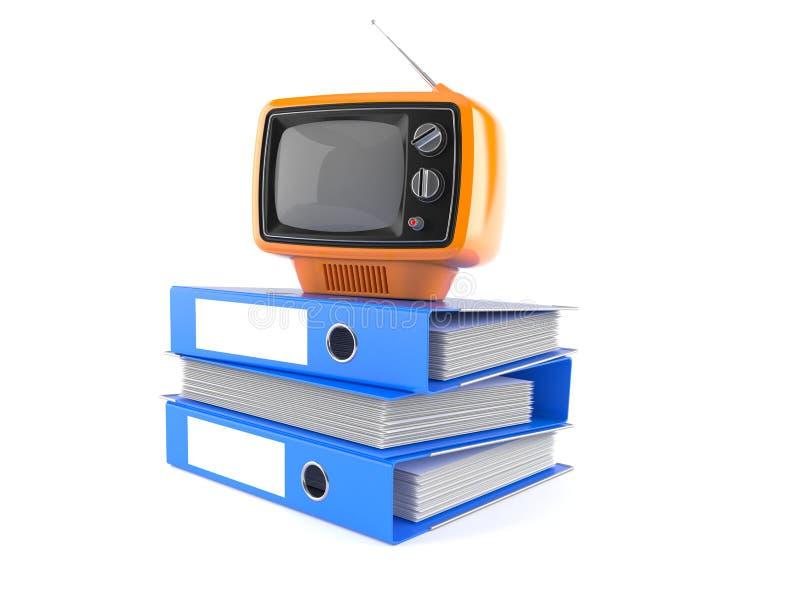 与圆环包扎工具的老电视机 向量例证