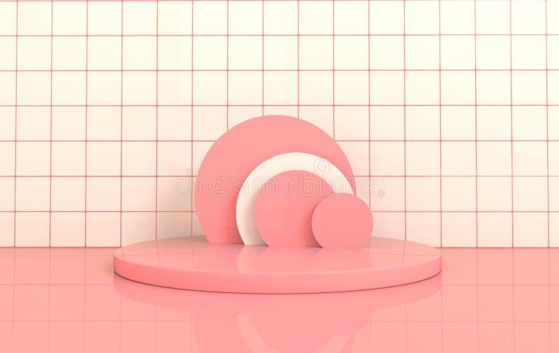 与圆的指挥台的粉红彩笔和白色瓦片墙壁和地板内部产品介绍的 r 向量例证