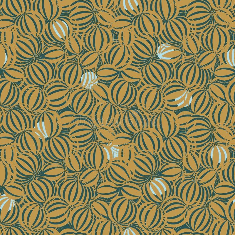 与圆的有机主题的无缝的传染媒介摘要样式以芥末黄色 皇族释放例证