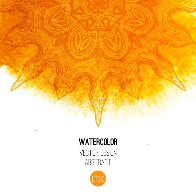 与圆的样式的橙色水彩刷子洗涤- 皇族释放例证