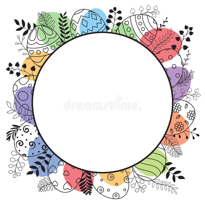 与圆的框架的愉快的复活节贺卡和手拉的复活节彩蛋 库存例证