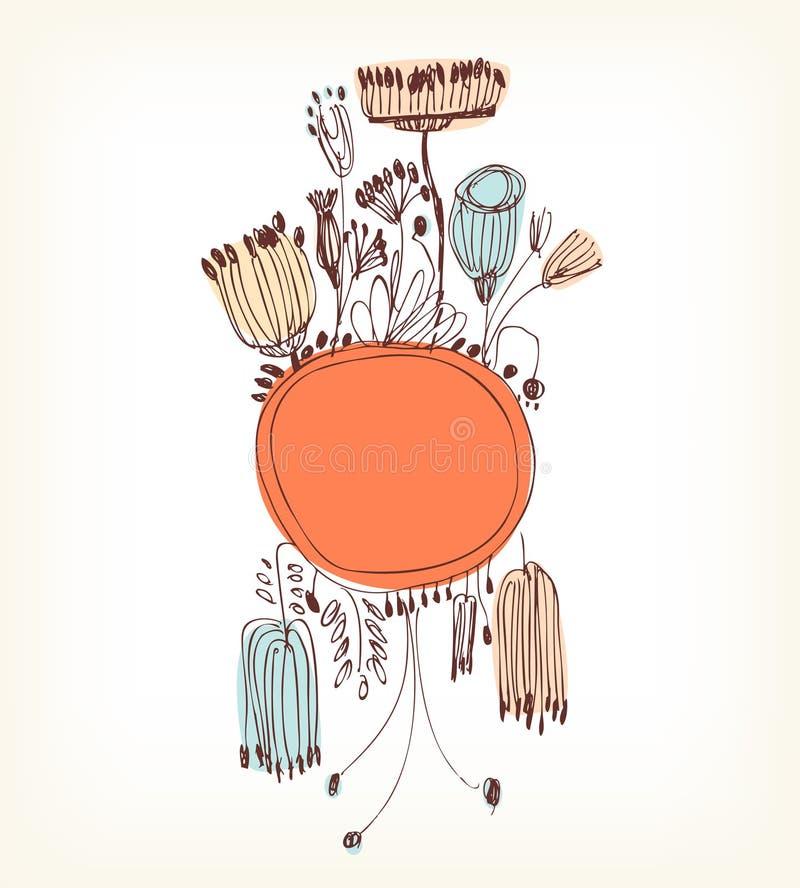 与圆的框架的手拉的橙色垂直的您的文本的横幅和地方 葡萄酒鞋带贺卡 向量例证