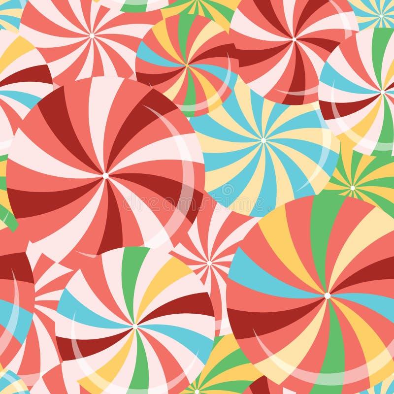 与圆的甜点的无缝的颜色样式 棒棒糖 皇族释放例证