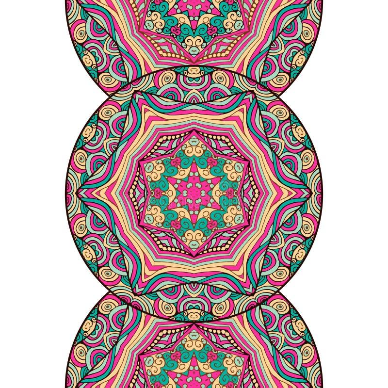 与圆的装饰品的垂直的装饰品 乱画坛场 向量例证