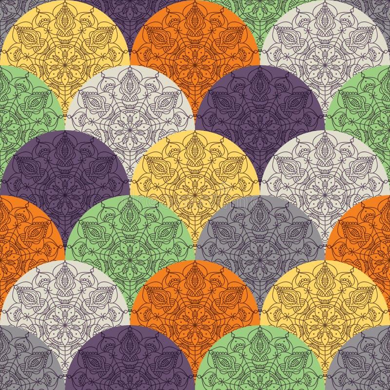 与圆装饰品的波动图式 库存例证