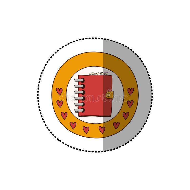 与圆边界的五颜六色的贴纸与心脏和红色每日笔记本 皇族释放例证