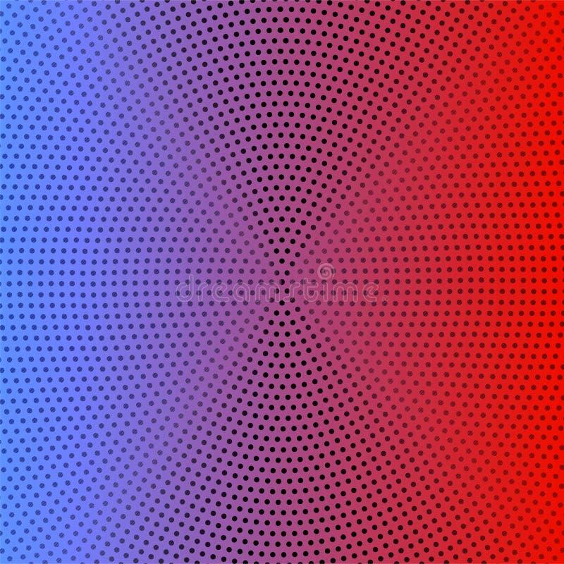 与圆黑光点图形的抽象蓝色,紫色和红色梯度背景 库存例证