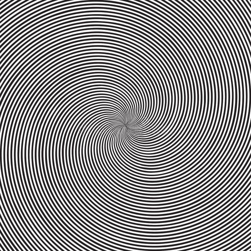 与圆黑白漩涡、螺旋或者转弯背景的荧光的方形的背景与圆的错觉 库存例证