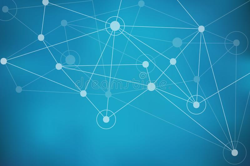 与圈子、线和点的蓝色抽象滤网背景 库存例证