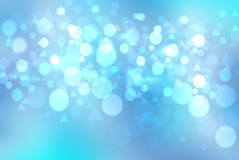 与圈子和三角bokeh的抽象明亮的蓝色背景 皇族释放例证