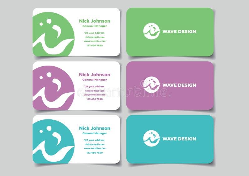 与圈子商标嘲笑设置的传染媒介设计的企业名称卡片 向量例证