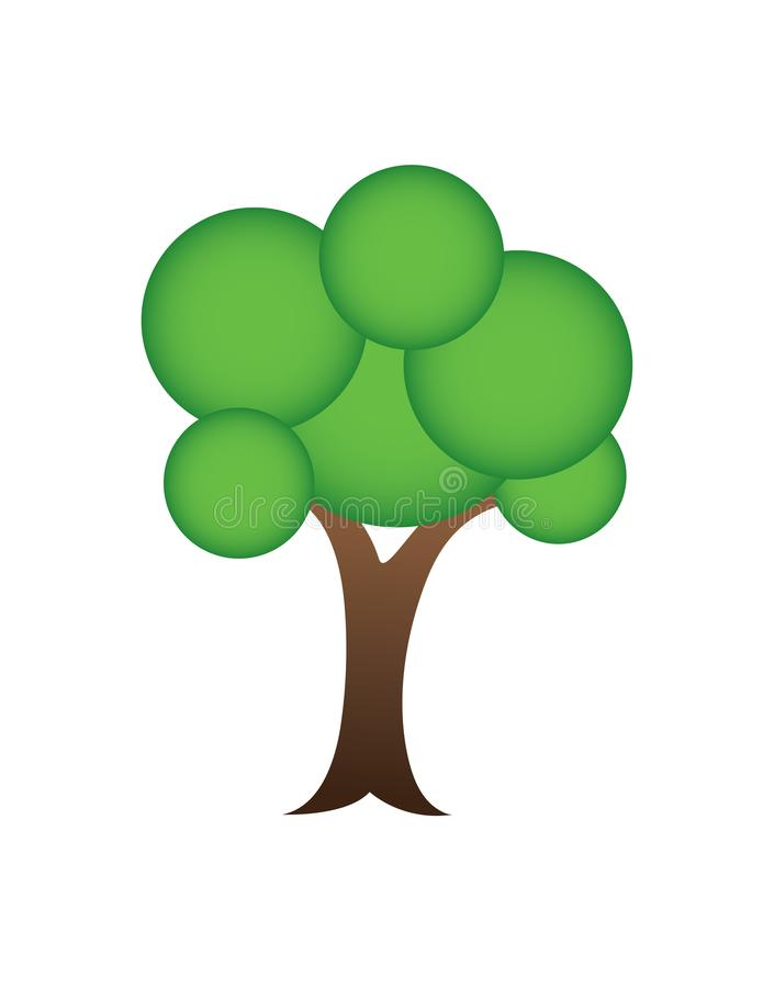与圈子形状的一个绿色树商标不伤环境的企业传染媒介例证的 库存例证