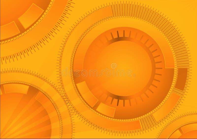 与圈子形状的橙色几何技术背景 传染媒介抽象图形设计 向量例证