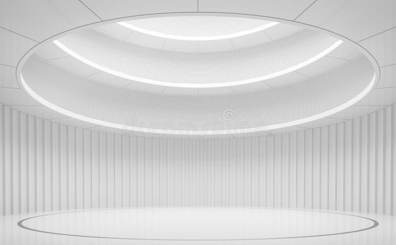 与圈子形状3d的现代白色空间内部回报 皇族释放例证