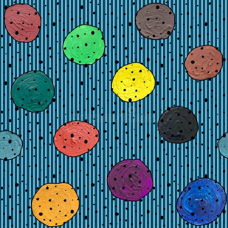 与圈子树胶水彩画颜料的无缝的抽象在镶边背景的样式和丙烯酸酯 皇族释放例证