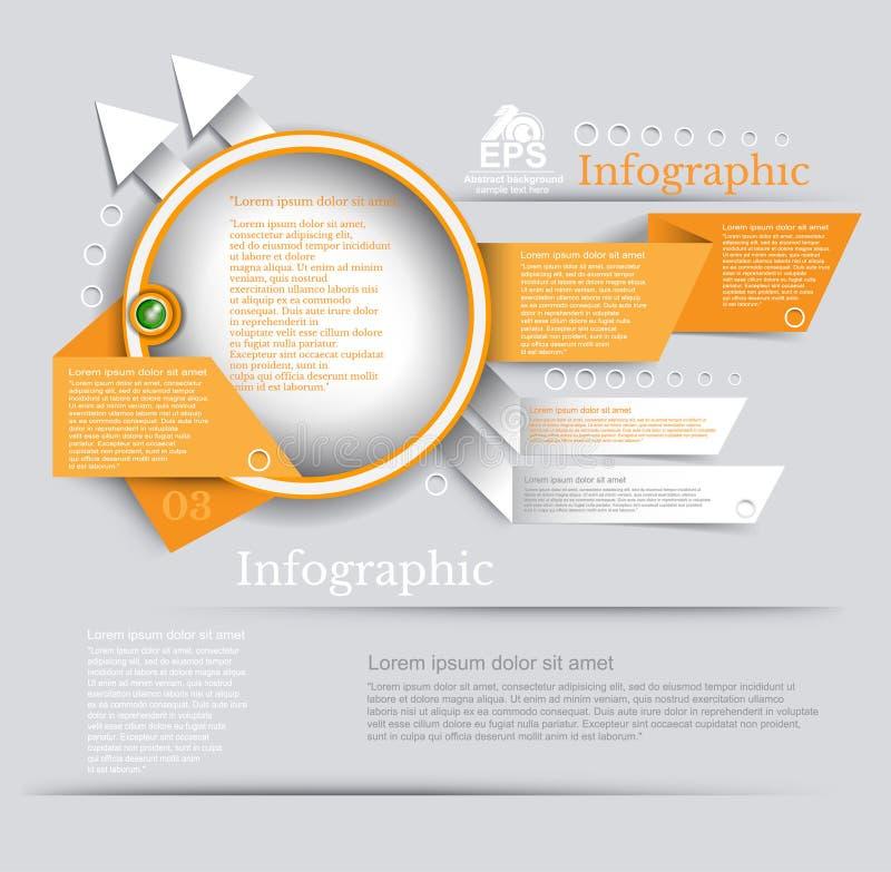 与圈子框架箭头的抽象横幅和纸丝带为您的事务设计 向量例证