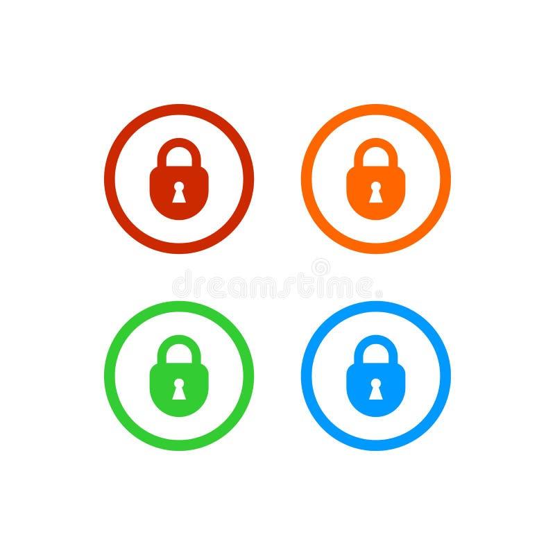 与圈子的五颜六色的挂锁象 库存例证