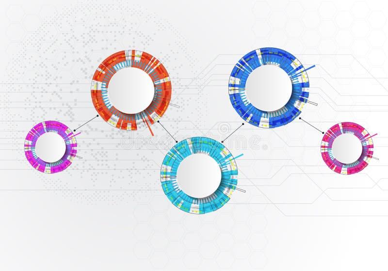 与圈子的四步infographics在白色backgraund 能为工作流布局,图,企业步选择,横幅使用 库存例证