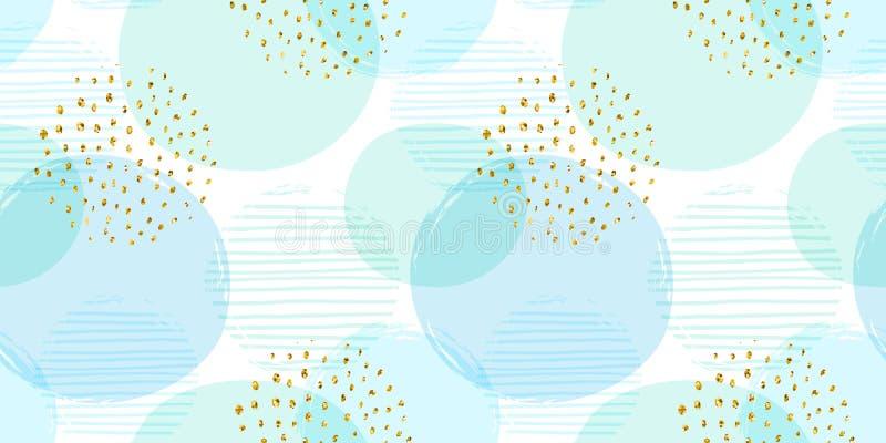 与圈子的摘要几何无缝的样式 现代抽象设计 向量例证