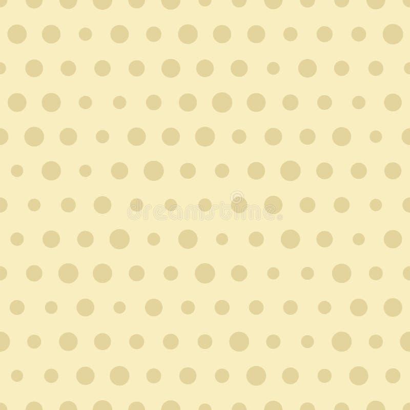 与圈子的无缝的圆点褐色样式 向量背景 皇族释放例证