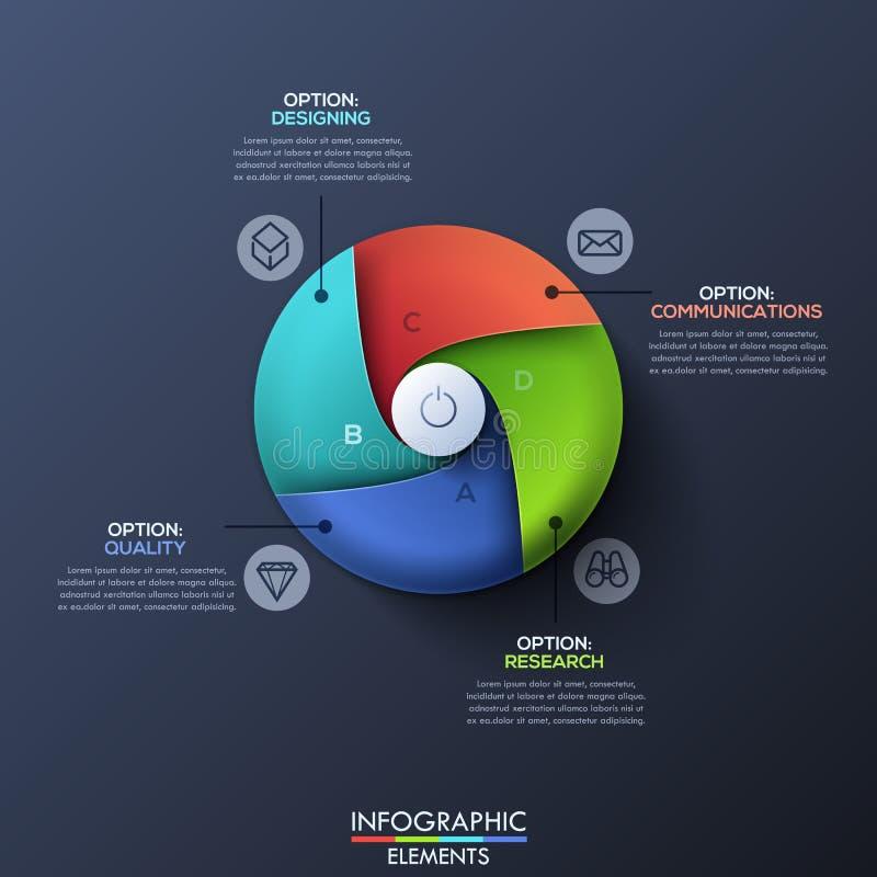 与圈子的现代infographic设计模板由4个螺旋区段划分了 库存例证