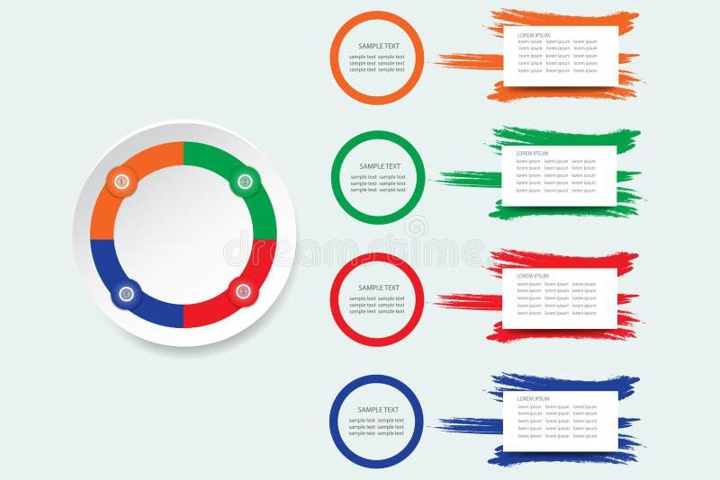 与圈子的Infographic模板裱糊在四种颜色的标签 库存例证