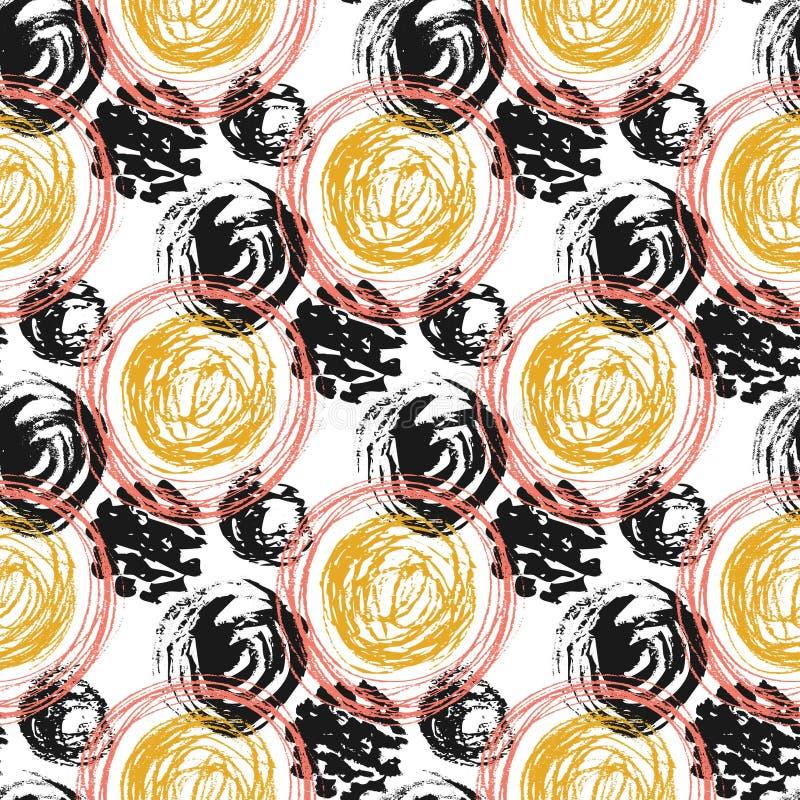 与圈子纹理的秋天无缝的样式 皇族释放例证
