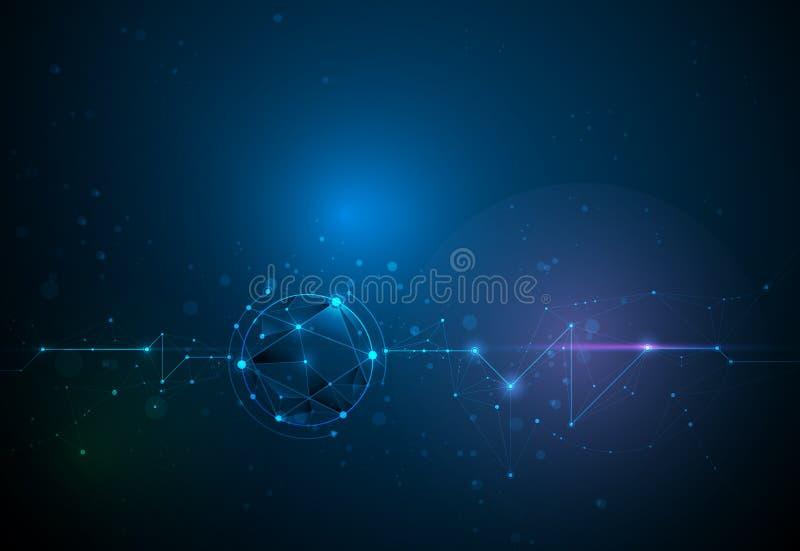 与圈子,线,几何,多角形,三角样式的例证抽象分子 传染媒介设计技术网络的通信 向量例证