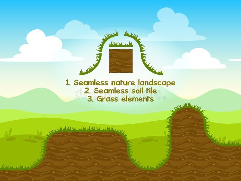 与土壤瓦片的无缝的自然风景 向量例证
